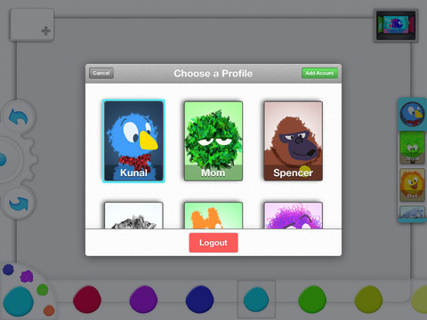 d Drawp: A kid friendly social drawing app for iPad