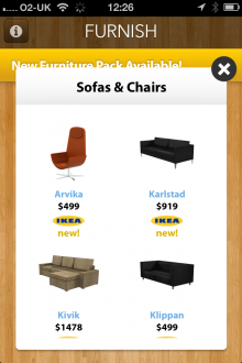 e2 220x330 Furnish for iOS taps augmented reality to transport IKEA and Crate & Barrel furniture to your home