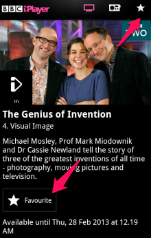 finaloutput 220x346 The BBC reintroduces Favourites to iPlayer on Android, but still no downloads for now