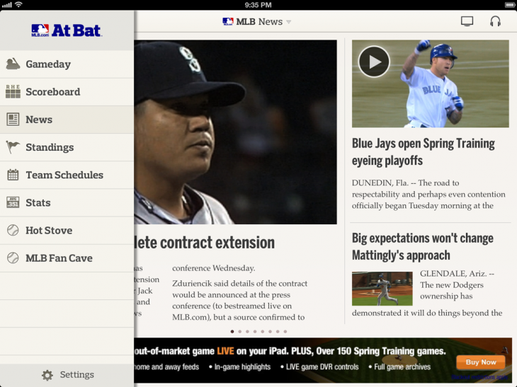 ipad News1 730x547 MLB At Bat 13 brings cross platform subscriptions, sortable statistics, classic games and more in 5th season