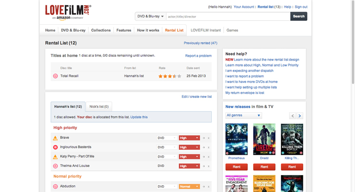 lovefilm1 Amazon's LoveFilm revamps its rental lists with a cleaner design, easier management and more