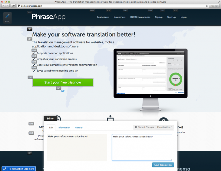 phraseapp context view 730x566 Phrases translation platform helps developers and startups localize their apps and websites