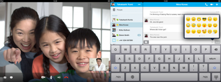 skype ipad 730x273 Skype for iPad gets automatic call reconnecting, in app money adding, and a recent conversations sidebar