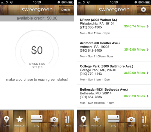 sweetgreenshots LevelUp launches Sweetgreen Rewards, its first custom branded payment and loyalty app