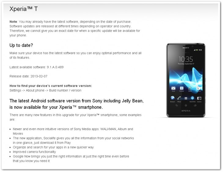xperiat 730x563 Sony begins Jelly Bean rollout for Xperia devices, featuring redesigned media apps and more