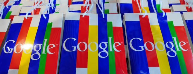 The Google logo can be seen on bags duri