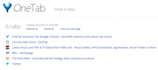 OneTab21 520x230 TNW Pick of the Day: OneTab for Chrome condenses all your tabs into a single tidy list