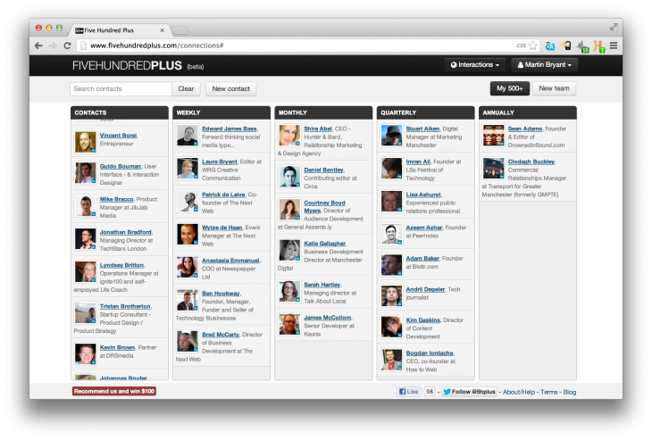 Screen Shot 2013 03 06 at 13.19.49 730x493 Remember to stay in touch with all of your best LinkedIn contacts by using FiveHundredPlus