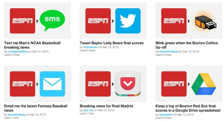 Screen Shot 2013 03 18 at 9.17.38 AM 730x398 After Olympics pilot, IFTTT launches ESPN channel to help you track sports, teams, scores and more