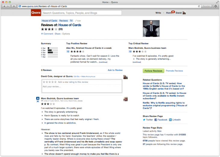 houseofcards 1 730x522 Quora now officially embraces reviews, letting users include star ratings with their responses