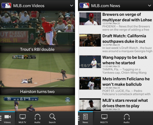 mlbscreens1 Mega popular baseball app MLB At Bat 2013 launches on BlackBerry 10, just in time for Opening Day