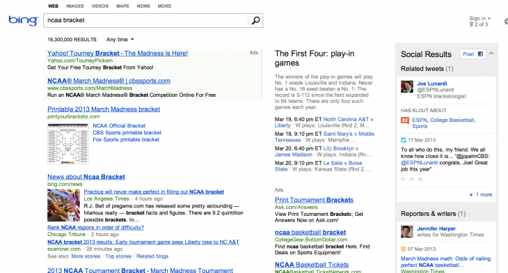 ncaa bing 730x392 Googles NCAA bracket demonstrates how far it has strayed from its original promise