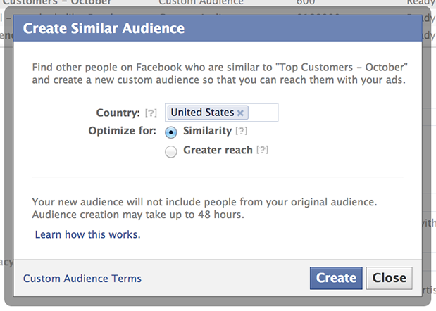 similar audience Facebook announces Lookalike Audiences, lets advertisers target potential customers similar to current ones