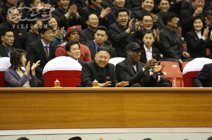 vice1 730x483 Surreal photos: Dennis Rodman watches basketball with North Korean leader Kim Jong un