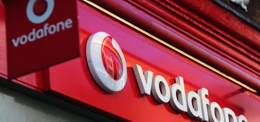 A sign for a Vodafone store is pictured