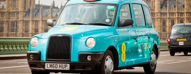 EE launches the UK?s first ever fleet of superfast 4G taxis in London and Birmingham (delete one city depending on town) allowing passengers to browse, email, Tweet and check Facebook for free using superfast 4G on the go
