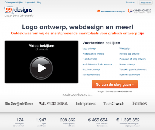 99designs.NL home page