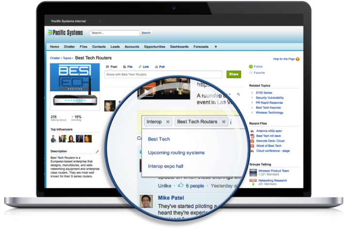 Chatter Topics Screenshots discover insights 730x493 Salesforce adds tagging and topic experts to its Chatter enterprise social network