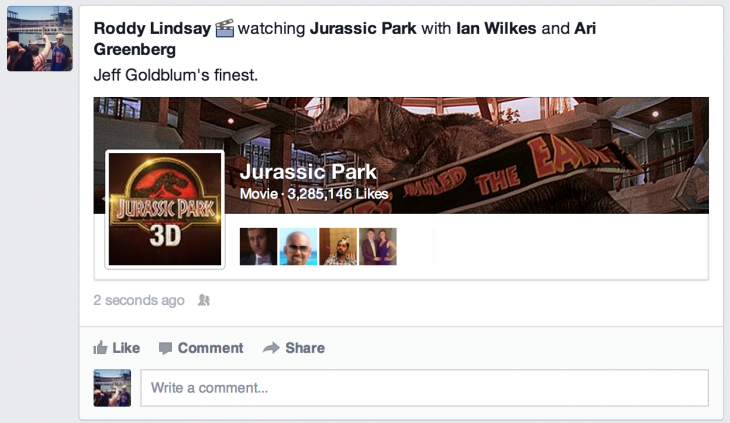 Movies1 730x423 Facebook lets US status updates include what youre doing, turns certain Pages into stories on your Timeline