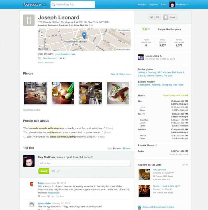 Screen Shot 2013 04 22 at 12.26.37 PM 730x737 Foursquare redesigns web listing pages for its 50M site visitors after Explore usage doubles in 2 months