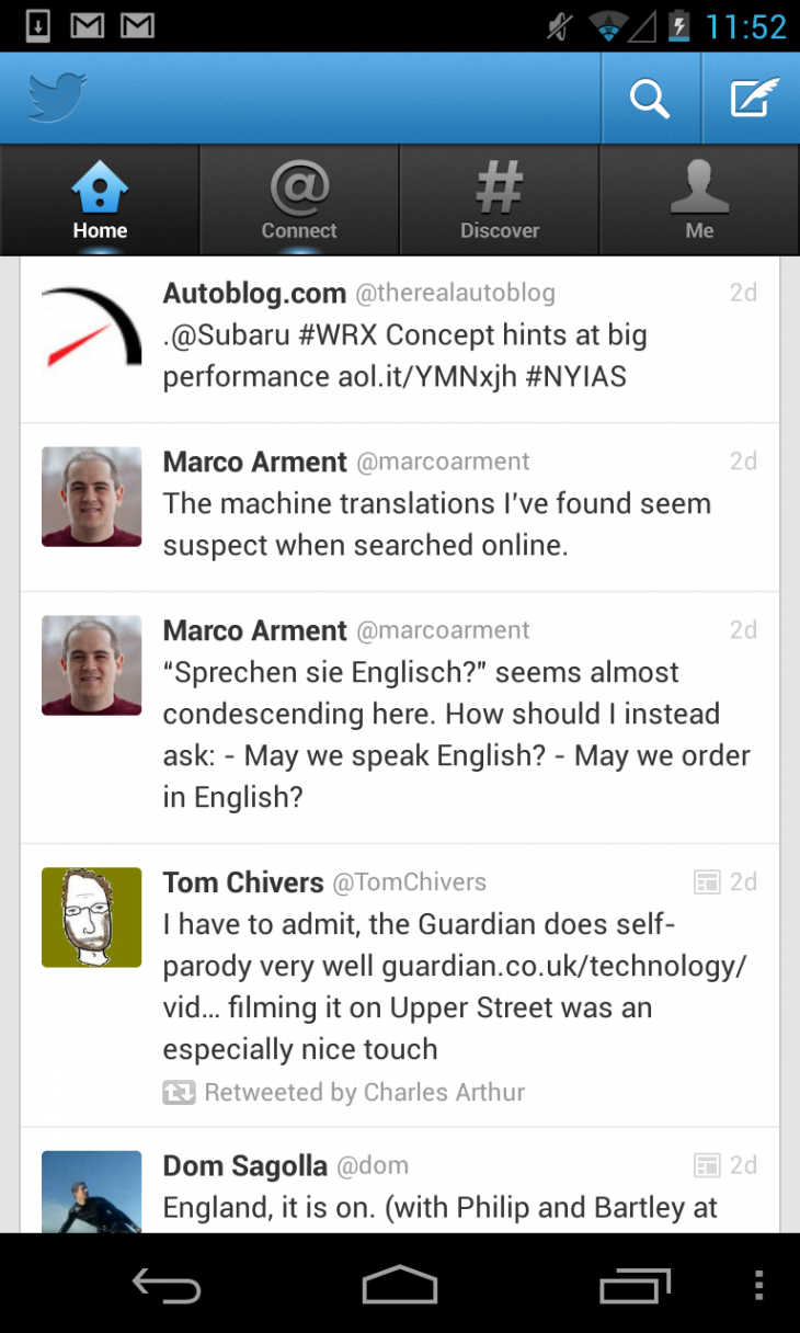 Screenshot 2013 04 03 11 52 58 730x1216 Twitter updates Android app bigtime with native experience, app Cards, borderless timeline and more