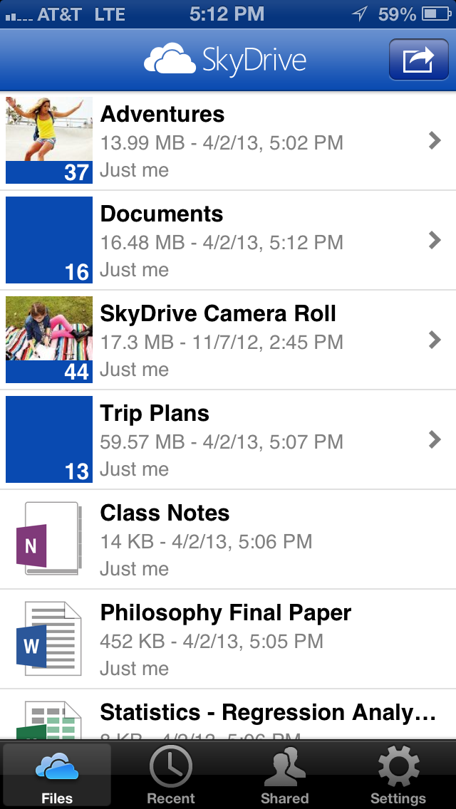 SkyDrive for iOS 0DEB6697 SkyDrive for iOS updated with new design, full resolution photos, iPhone 5 and iPad mini support, and more