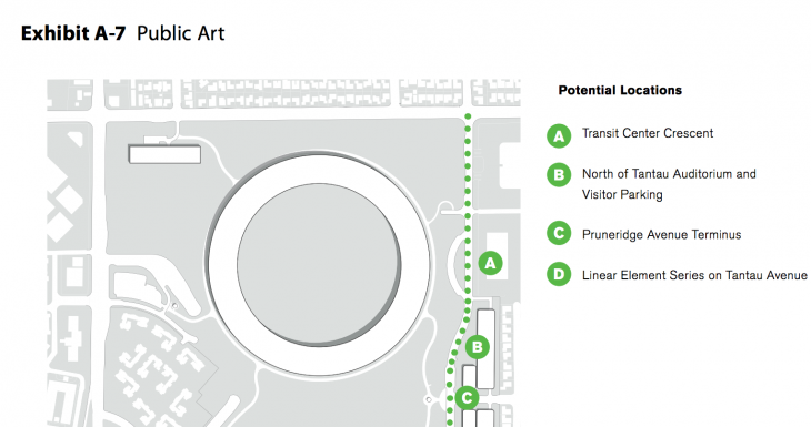 applecampus publicart 2 730x385 Apple updates Cupertino Campus 2 proposal with additional bike paths, street renderings and parking