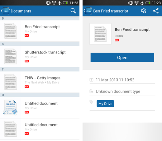 dooscreens1 Doo for Android gives you access to documents stored in the cloud   just don't expect to edit them