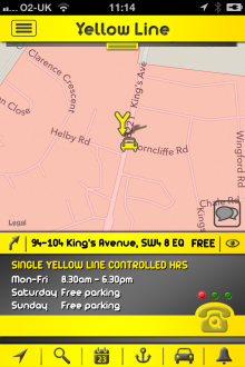 f7 220x330 Yellow Line for iOS gives London drivers local parking information and records where they left their car
