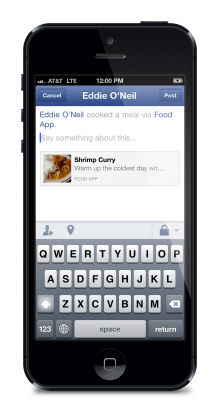 iphone5 share dialog 2 220x414 Facebooks mobile platform evolves with a new SDK for iOS, improved login, and addition of Open Graph