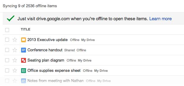 Google Drive sync offline