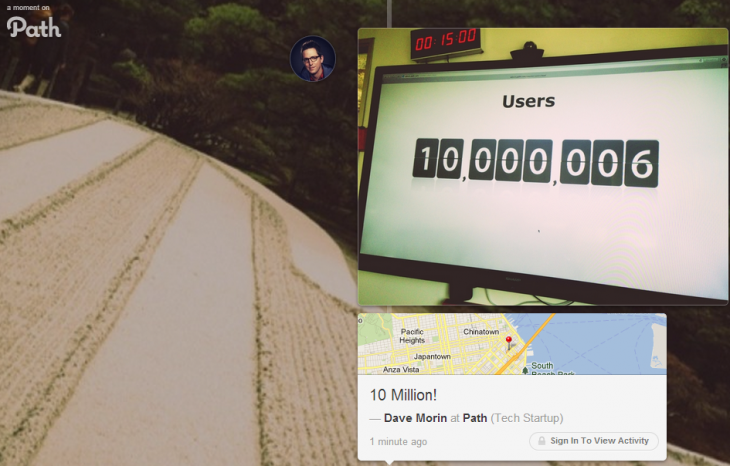 path 10 million 730x466 Path, the private social network, passes 10 million registered users