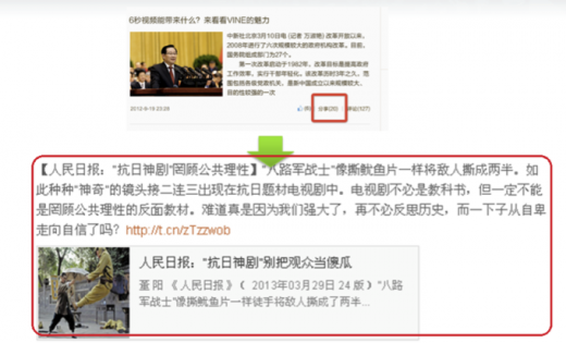weibo2 520x315 Chinas Sina Weibo trials Twitter Cards like feature and new profile pages for media partners