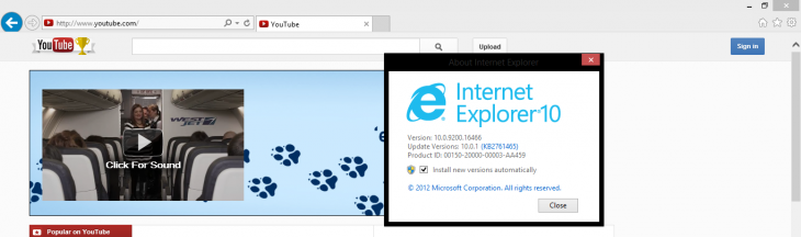 youtube ie10 windows8 730x216 Possible bug causes YouTube to detect IE10 on Windows 7 and IE8 as no longer supported