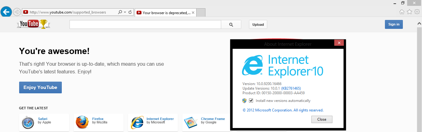 youtube detects ie10 on windows 7 ie8 as 39 no longer supported 39. Black Bedroom Furniture Sets. Home Design Ideas