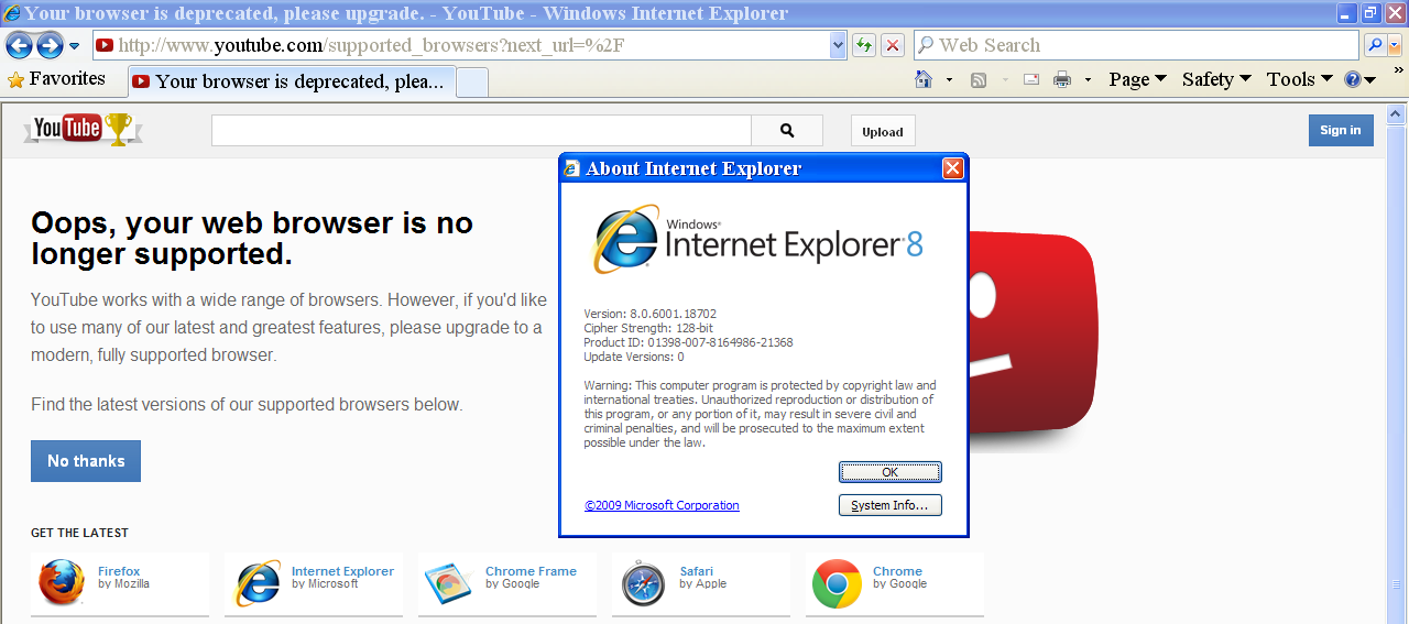 Youtube Detects Ie10 On Windows 7 Ie8 As No Longer Supported