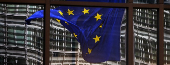 A European flag reflects 06 November 200