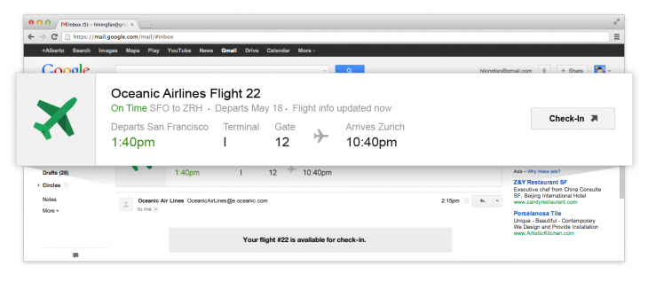 Flights Popout 730x318 Gmail is getting quick action buttons that let you RSVP to events, rate restaurants, view flights, and more