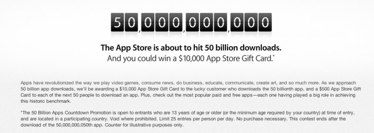 Screen Shot 2013 05 02 at 1.22.24 PM 730x260 Apple begins countdown to 50 billion App Store downloads with a $10k gift card and best seller list