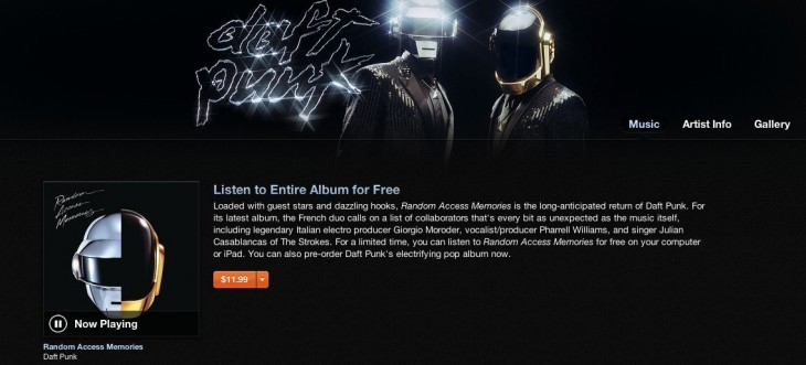 Screen Shot 2013 05 13 at 11.49.48 AM 730x331 Daft Punks Random Access Memories now streaming on iTunes, even as leaked copy hits Web