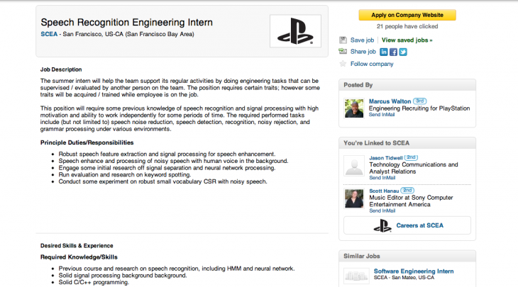 Screen Shot 2013 05 17 at 09.51.42 730x405 Job opening suggests Sony is developing speech recognition support for its PlayStation hardware