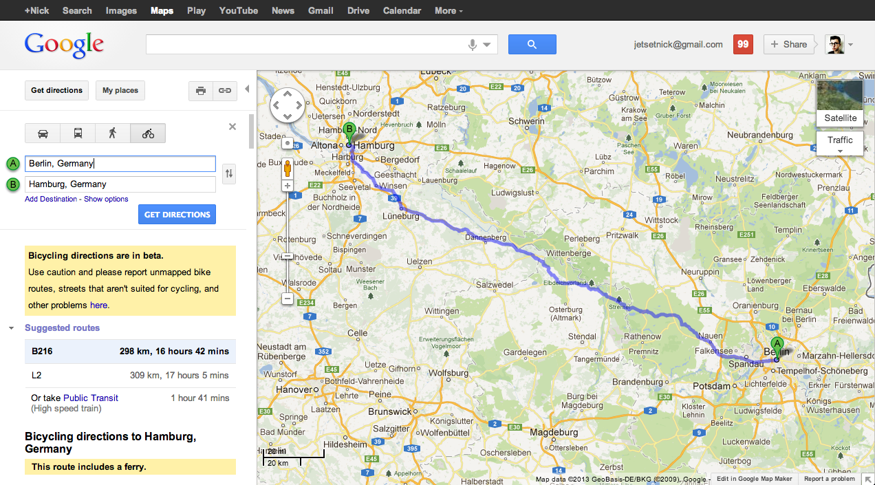 Google Maps Gets Biking Directions For New Countries In Europe - Germany map google