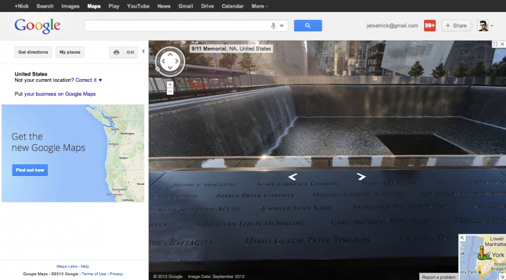 Screen Shot 2013 05 29 at 15.35.37 730x404 Google Maps gets fresh New York Street View images for 9/11 Memorial, Central Park and more