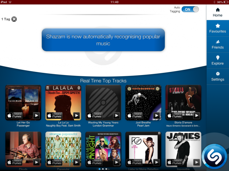 a14 730x547 Shazams iPad app now features background auto tagging, and maps to view most tagged songs by region
