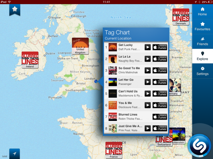 b14 730x547 Shazams iPad app now features background auto tagging, and maps to view most tagged songs by region