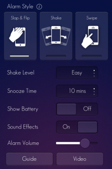 e9 220x330 Wake is a beautiful iOS alarm clock app that lets you slap, flip, shake and swipe yourself out of bed