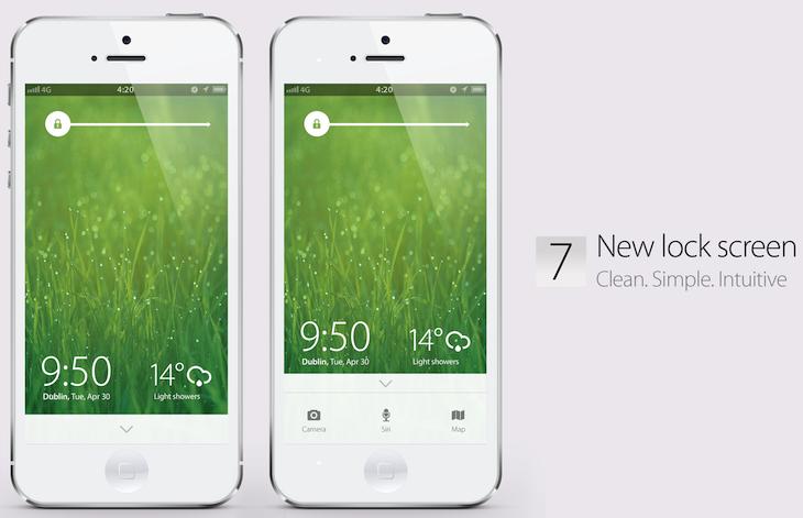 iOS7 lock screen concept