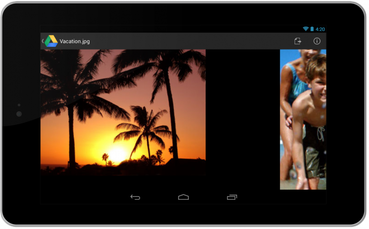 imageswipe 730x453 Google Drive for Android gets new card style view, quick preview, OCR document scanning, file downloads, and more