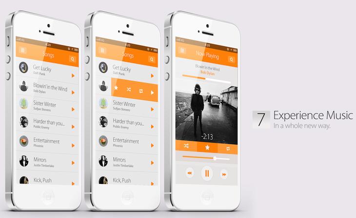 music ios7 concept design