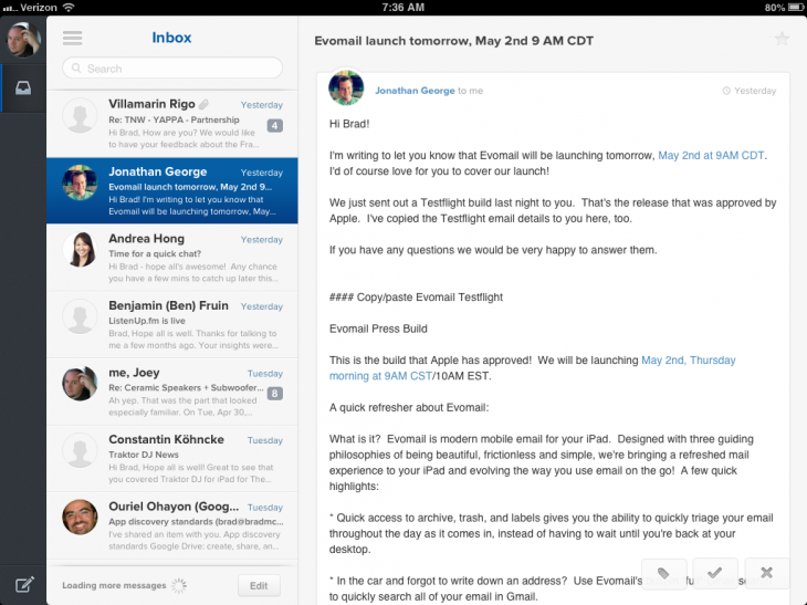 photo 3 730x547 Evomail for iPad is a slick and beautiful email client, no learning curve required